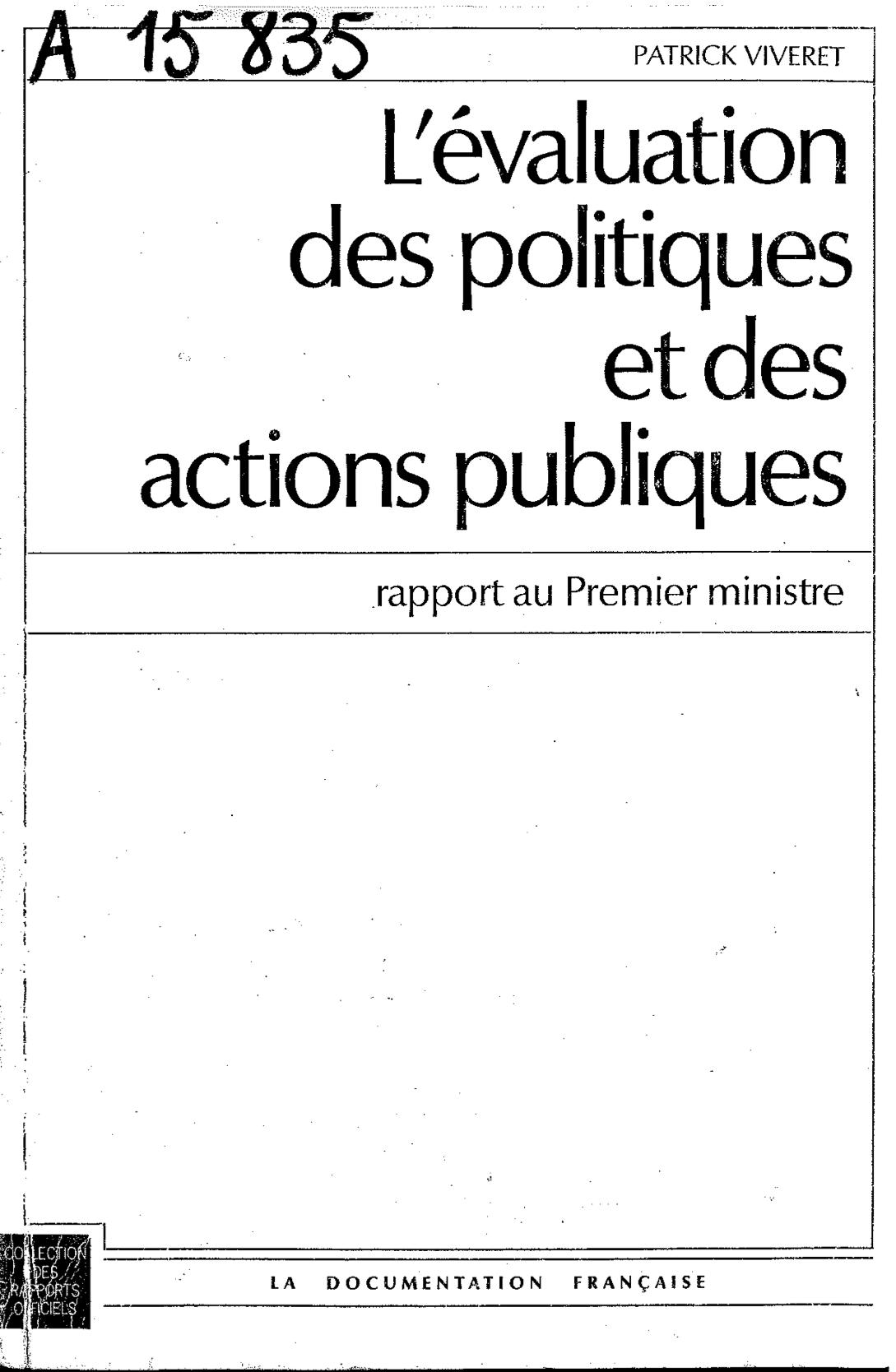 Rapport Viveret sur l'évaluation des politiques et des actions publiques